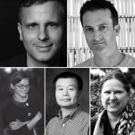 Black and white collage of faculty headshots from top left clockwise, Ulrich Dangel, Kory Bieg, Mirka Benes, Ming Zhang, Danelle Briscoe