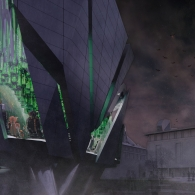 An exterior architectural rendering of a futuristic looking building on the University of Texas campus in purple and grey tones, with bright green glimpses of the interior