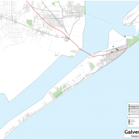 Map of John S. Chase's projects in Galveston, Texas