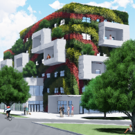 Streetview rendering of the exterior of a multi-family building covered in different types and colors of vegetation, with people gathered outside and on balconies.