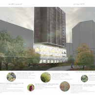 A page from Grayson's portfolio. Three quarters of which is a rendering of the exterior of a building from the northwest. The bottom quarter features information about native plants outside the project.