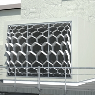 Rendering of how the honeycomb structures appear from a distance where whole window is visible