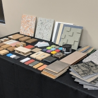 Table showcasing material selections for interior finishes.