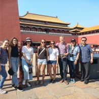 Ming Zhang with students in Beijing, China