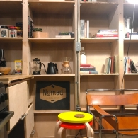 Pantry and Library shelving in the front angle of the house
