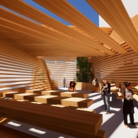 A room made up entirely of a series of large wooden beams with light filtering in through the spaces between them. Shadows fall across the bodies of multiple people sprinkled throughout the interior space