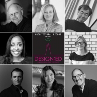 Three by three grid of black and white headshots of select Design:ED podcast guests, with the Design:ED Architectural Record logo in the middle