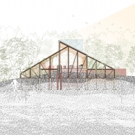 Section view of a building with an sloping roof and vertical beams. Lots of small detailed lines outside the structure show trees including their roots below ground.