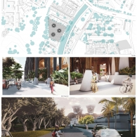 Project site plan, as well as renderings of views approaching from the street, highway, and courtyard entry