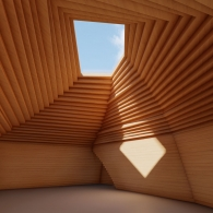 Interior rendering of light wood paneled room with a sloping, tiered interior roof with a skylight at the center. Blue skies can be seen through the skylight, and a square of light falls on one of the walls