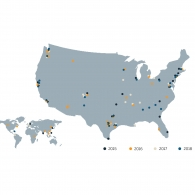 Map graphic of where UTSOA graduates have received employment opportunities the past several years