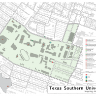 Map of John S. Chase's projects on the Texas Southern University campus