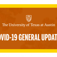 orange and yellow block with white text UT logo and text covid-19 general updates