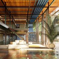 A colorful warm rendering of an open air building first floor, two-level building. Natural light flows in from the right, onto comfortable looking white couches. The ceiling is a warm wood with exposed steel beams, the floor looks concrete.