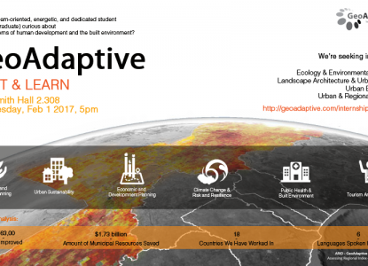 GeoAdaptive Meet & Learn - Wednesday, February 1 at 5pm - Goldsmith Hall 2.308