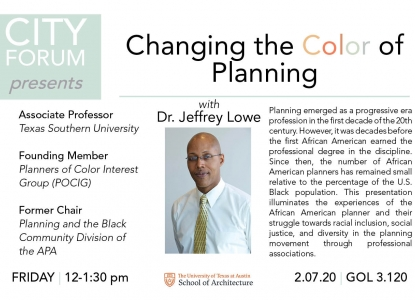 "Event flyer for Dr. Jeffrey Lowe's talk, titled ""Changing the Color of Planning."""