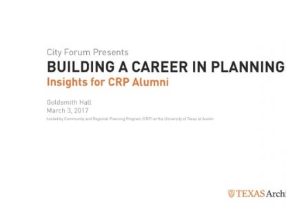 BUILDING A CAREER IN PLANNING: Insights for CRP Alumni