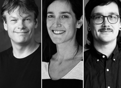 Black and white headshots of three faculty members combined into one image