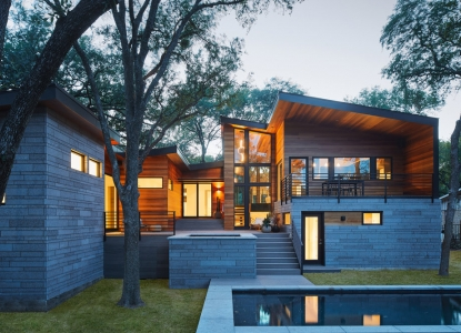 Ridgewood Residence Rear Elevation Dusk