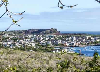 Wide angle view of a town on the coast of the Galapagos, seen from afar looking through trees over a grassy area.