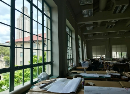 Studio in Goldsmith Hall with the Goldsmith Tower seen in the background through the window