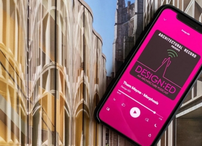 A phone with Thom Mayne's Design:ED podcast playing, laid on top of an issue of Architectural Record