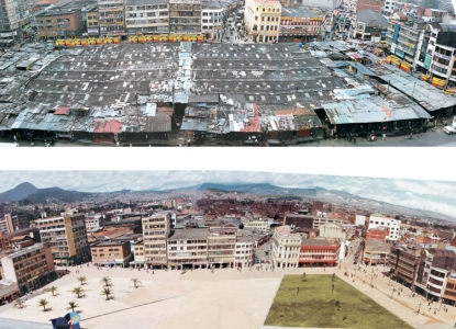 photos of Plaza de San Victorino before and after renovations