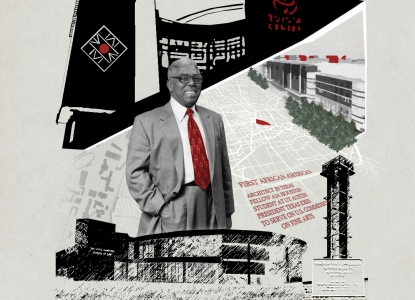 John S. Chase collage on a limestone background featuring a black and white picture of Chase with a red tie, the NOMAS and Toyota Center logos, and other elements of Chase's life