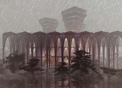 Rendering of the exterior of the Wind Conduit building in the rain