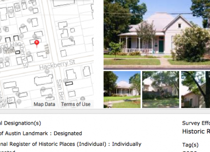 Screenshot of wiki interface with photo of property and corresponding map