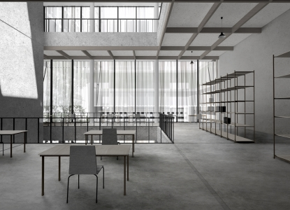 Neutral, grey-toned architectural rendering of a room with a few tables and chairs, with light filtering through windows in what seems like a communal office space