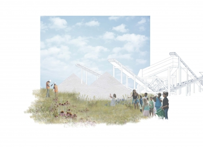 Rendering of diverse school aged children on the edge of a meadow with heavy machinery and piles of industrial materials in the background