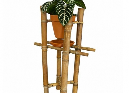Plant stand made from bamboo stems lashed together with cordage