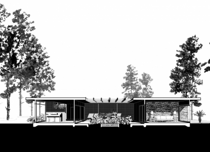 Black and white architectural drawing of the exterior of John S. Chase's modernist home